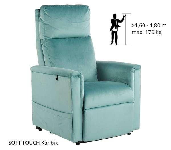 GOLDEN Moderner Komfort Sessel 2 Motoren in der Farbe Karibik
