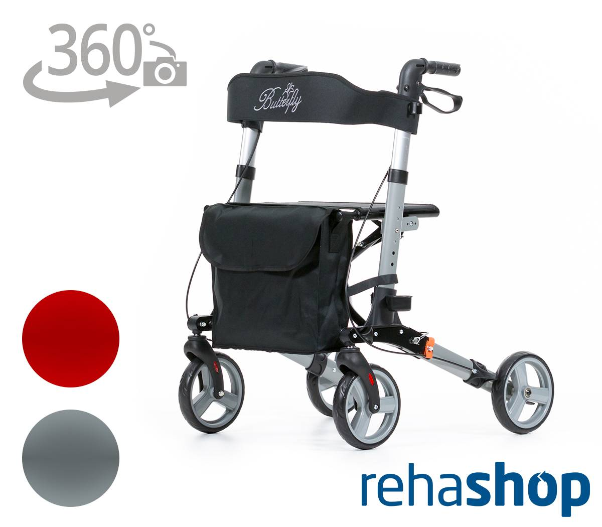 leicht und faltbar rollator butterfly von rehashop kaufen. Black Bedroom Furniture Sets. Home Design Ideas