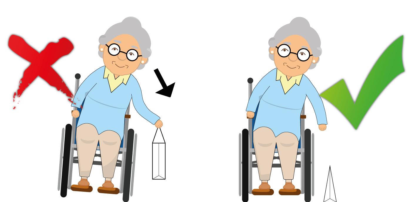 Rollstuhl: Richtig nach Gegenständen greifen