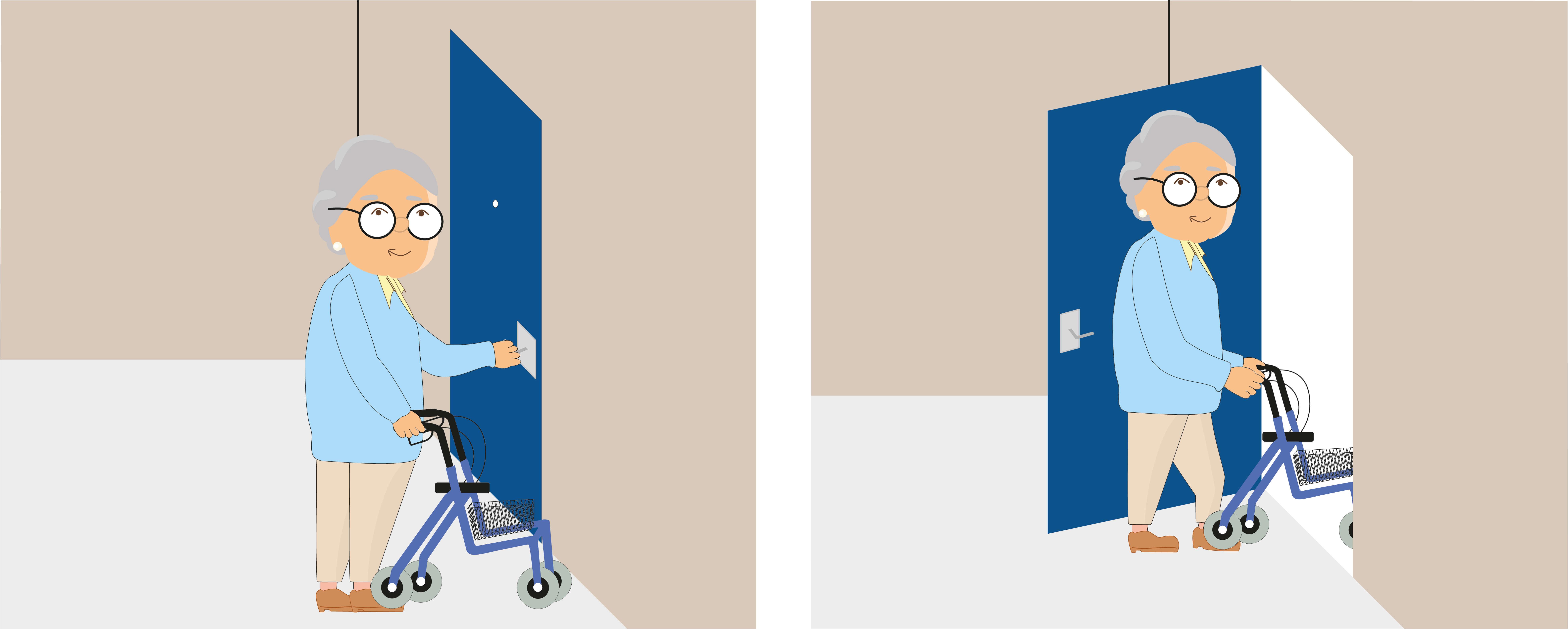 Sicher durch Türen gehen mit dem Rollator
